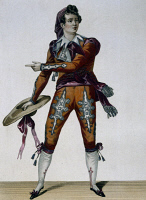 0349520 © Granger - Historical Picture ArchiveLITERATURE & THE ARTS.   The Samson actor in the role of Figaro in The Barber of Seville or The Futile Precaution, 1775, by Pierre-Augustin Caron de Beaumarchais (1732-1799), engraving. Full credit: De Agostini / G. Dagli Orti / Granger, NYC -- All Rights Reserved.