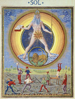 0349556 © Granger - Historical Picture ArchiveLITERATURE & THE ARTS.   The sun and different physical and sporting endeavours, miniature from De Sphaera by Leonardo Dati, Latin Manuscript folio 209 verso 8, 1470, Italy. Full credit: De Agostini / A. Dagli Orti / Granger, NYC -- All rig