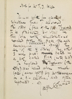 0349790 © Granger - Historical Picture ArchiveLITERATURE & THE ARTS.   Typhoon, novel by Joseph Conrad (1857-1924), handwritten notes with signature. Full credit: De Agostini Picture Library / Granger, NYC -- All rights reserv