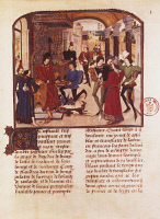 0349810 © Granger - Historical Picture ArchiveLITERATURE & THE ARTS.   Vasco da Lucerna presenting his history of Alexander to Charles the Bold, miniature by Liedet Loyset (1470), manuscript, France 15th Century. Full credit: De Agostini Picture Library / Granger, NYC -- All rights res