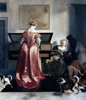 0349999 © Granger - Historical Picture ArchiveLITERATURE & THE ARTS.   Woman playing the spinet, woman singing and a man playing the violin, 1675-ca 1680, by Jacob Ochtervelt (1634-1682), oil on canvas, 84.5 x 75 cm. The Netherlands, 17th century. Full credit: De Agostini Picture Library / Granger, NYC -- All rights reserved.