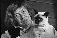 0164733 © Granger - Historical Picture ArchivePATRICIA HIGHSMITH (1921-1995).   Writer Locarno Switzerland 1986. Photographed by Horst Tappe.