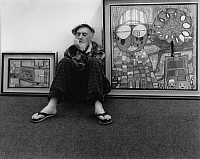 0164771 © Granger - Historical Picture ArchiveFRIEDENSREICH HUNDERTWASSER (1928-2000).   Painter architect Basel Switzerland 1989. Photographed by Horst Tappe.