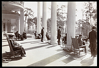 0163612 © Granger - Historical Picture ArchiveSOUTH CAROLINA: HOTEL.   Guests relaxing on the porch of the Park in the Pines Hotel in Aiken, South Carolina, 1904.