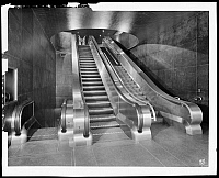 0163672 © Granger - Historical Picture ArchiveNEW YORK: ESCALATORS, 1941.   Park Avenue and 42nd Street, southwest corner. Moving stairs in Airlines Terminal, 1941.