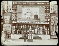 0163965 © Granger - Historical Picture ArchiveCONEY ISLAND: SIDE SHOW.   Side show of the human curiosities 'Jolly Trixy' and 'Princess Wee Wee' at Coney Island, Brooklyn. Photograph, c1908.