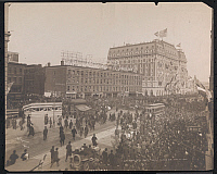 0166124 © Granger - Historical Picture ArchiveNEW YORK TO PARIS RACE.   Crowd gathered at Times Square and the Hotel Astor for the start of the New York to Paris automobile race, February 12, 1908.