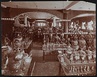 0166193 © Granger - Historical Picture ArchiveGEORGE BORGFELDT & CO.   Interior of the George Borgfeldt & Company store, with shelves and tables full of items including clocks, frames, lamps and figurines. New York City, photograph, 1904.