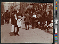 0166334 © Granger - Historical Picture ArchiveADVERTISING COACH, 1896.   Advertising coach on Fulton Street with young men passing out handbills, New York City. Photograph, 1896.