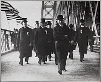 0166383 © Granger - Historical Picture ArchiveNEW YORK: MAYOR SETH LOW.   Mayor Seth Low and officials crossing the Williamsburg Bridge, New York City. Photograph, 1903.