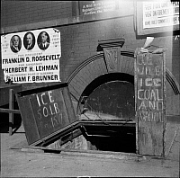 0172080 © Granger - Historical Picture ArchiveENTRANCE TO CELLAR, 1937.  Ice cellar in New York City.
