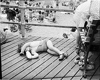 0172328 © Granger - Historical Picture ArchiveCONEY ISLAND BOARDWALK.   Baby on the boardwalk in Coney Island, Brooklyn. Photograph, 1939.