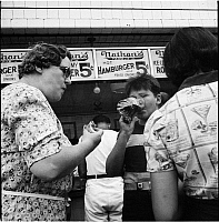 0172335 © Granger - Historical Picture ArchiveNATHAN'S FAMOUS STAND.   Nathan's Famous hot dog stand in Coney Island, Brooklyn. Photograph, 1939.