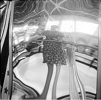 0172345 © Granger - Historical Picture ArchiveDISTORTING MIRROR, 1939.   Distorting mirror at Steeplechase Park in Coney Island, Brooklyn, New York. Photograph, 1939.