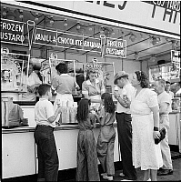 0172361 © Granger - Historical Picture ArchiveFROZEN CUSTARD STAND, 1939.   Coney Island, Brooklyn, New York. Photograph, 1939.