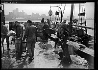 0172378 © Granger - Historical Picture ArchiveFULTON FISH MARKET, 1938.   Unloading fish at the Fulton Fish Market, New York City. Photograph, 1938.