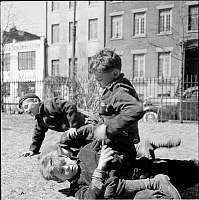 0172418 © Granger - Historical Picture ArchiveSHERIDAN SQUARE, 1940.   Boys fighting in Sheridan Square, New York City. Photograph, 1940.