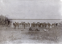 0245770 © Granger - Historical Picture ArchiveLAKE TCHAD, TCHAD.   An 1897 French expedition waters its horses on Lake Chad's shoreline. Fernand M. Foureau.