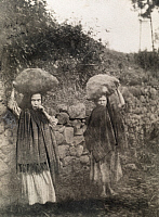 0246148 © Granger - Historical Picture ArchiveMADEIRA ISLANDS.   Young farm girls carry boulder-sized sweet potatoes on their heads. David G. Fairchild.