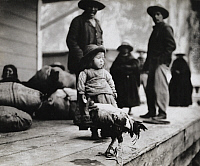 0246476 © Granger - Historical Picture ArchiveNEAR LA PAZ, BOLIVIA.   A family stands on a deck next to their pet rooster near La Paz. Harriet Chalmers Adams.