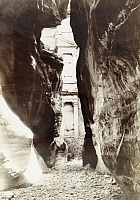 0246924 © Granger - Historical Picture ArchivePETRA, JORDAN.   The rock-hewn Pharaoh's Treasury, as viewed through a defile. Archibald Forder.