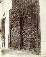 0246936 © Granger - Historical Picture ArchiveHODEIDA, ARABIA.   Elaborately carved wood doors on a building in Hodeida. Archibald Forder.