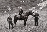 0247090 © Granger - Historical Picture ArchiveCHAMPERY, VALAIS, SWITZERLAND.   Women, one on horseback, in an alpine meadow with cattle in back. Jullien Freres.