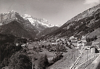0247092 © Granger - Historical Picture ArchiveCHAMPERY, VALAIS, SWITZERLAND.   Champrey village nestled in a valley, the Dents Blanches are in back. Jullien Freres.