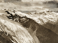 0247185 © Granger - Historical Picture ArchiveILLECILLEWAET GLACIER AND ASULKAN PASS, SELKIRK MOUNTAINS, BRITISH COLUMBIA, CANADA.   Rounded billows of spotless neve stretch for 15 miles to the south. Howard Palmer.
