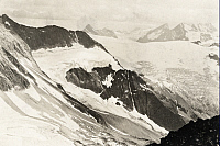 0247186 © Granger - Historical Picture ArchiveILLECILLEWAET GLACIER, SELKIRK MOUNTAINS, BRITISH COLUMBIA, CANADA.   Illecillewaet Neve and Deville Neve in the center right background. Howard Palmer.