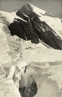 0247189 © Granger - Historical Picture ArchiveGEIKIE GLACIER, SELKIRK MOUNTAINS, BRITISH COLUMBIA, CANADA.   Crevasses in Geikie Glacier, Mount Fox is in back. Howard Palmer.