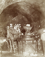 0247495 © Granger - Historical Picture ArchiveDAMASCUS, SYRIA.   A camel turns millstones for a mill operation in a cavern. Archibald Forder.