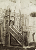 0247506 © Granger - Historical Picture ArchiveDAMASCUS, SYRIA.   An elaborately carved marble pulpit and cupola in a mosque. Archibald Forder.
