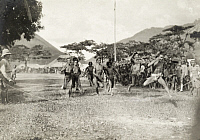 0247566 © Granger - Historical Picture ArchiveLUZON ISLAND, PHILIPPINES.   Bontoc Igorot men at the finish line of a running race. Dean C. Worcester.