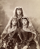 0248224 © Granger - Historical Picture ArchiveGEORGIA.   Three Georgian women in fine traditional clothing pose for a portrait. George Kennan.