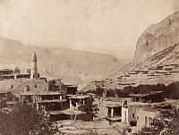 0248238 © Granger - Historical Picture ArchiveDAGHESTAN, RUSSIA.   A scenic view of a flat roofed mountain village in Dagestan. George Kennan.