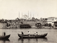 0248486 © Granger - Historical Picture ArchiveCONSTANTINOPLE.   The Blue Mosque stands in the distance as men fish in the Bosporus. No Credit Given.