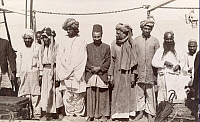 0248593 © Granger - Historical Picture ArchivePERSIAN GULF, ARABIA.   A group of Muslim men on a pilgrimage to Berbela. David G. Fairchild.