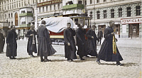 0248812 © Granger - Historical Picture ArchiveMOSCOW, RUSSIA.   Frocked priests walk on a city street to attend a funeral. William Wisner Chapin.