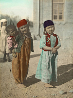 0248972 © Granger - Historical Picture ArchiveFERGHANA, UZBEKISTAN.   Young girls show typical dress of the Ferghana region. No Credit Given.