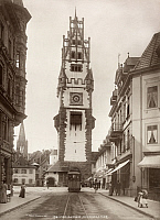 0249752 © Granger - Historical Picture ArchiveFREIBURG, GERMANY.   A trolley moves under Schwabenthor's gate tower. No Credit Given.