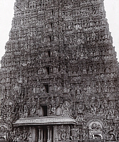 0250055 © Granger - Historical Picture ArchiveMADURA, INDIA.   A view of the elaborate carvings of a gopura at Minaksi-Sundareshvara. Bourne And Shepherd.