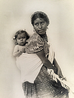 0250345 © Granger - Historical Picture ArchiveLOS ALTOS, GUATEMALA.   A Guatemalan Indian woman dressed in native woven cloth with child. John Fleming.
