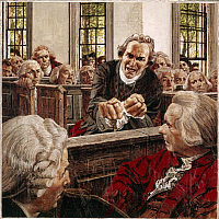 0250390 © Granger - Historical Picture ArchiveARTWORK.   Painting of Patrick Henry speaking to Virginia delegates in 1775. Louis S. Glanzman.