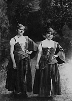 0250678 © Granger - Historical Picture ArchiveFUNCHAL, MADEIRA ISLAND, MADEIRA ISLANDS.   Two young Madeiran girls pose in gala dress. David G. Fairchild.