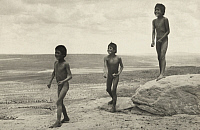 0251665 © Granger - Historical Picture ArchiveWALPI, ARIZONA.   Three, naked, Hopi Indian boys play along a desert trail. Frederick I. Monsen.