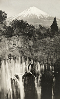 0251755 © Granger - Historical Picture ArchiveJAPAN.   A view of the waterfalls at Shiraito-no-taki and Mount Fuji. Kadel And Herbert.