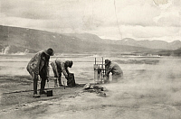0251875 © Granger - Historical Picture ArchiveKATMAI NATIONAL PARK AND PRESERVE, ALASKA, USA.   Chemists prepare to collect gas from a fumarole. Frank I. Jones.