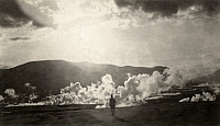 0251880 © Granger - Historical Picture ArchiveKATMAI NATIONAL PARK AND PRESERVE, ALASKA, USA.   A person observes Baked Mountain's smoking fumaroles from a distance. Robert F. Griggs.