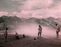 0251921 © Granger - Historical Picture ArchiveVALLEY OF TEN THOUSAND SMOKES, KATMAI NATIONAL PARK AND PRESERVE, ALASKA, USA.   Scientists take the temperature of the Earth in the Valley. Frank I. Jones.